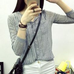 Jolly Club - Long-Sleeve Pocket-Accent Blouse