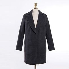 Queen Bee - Notch Lapel Snap-Button Coat