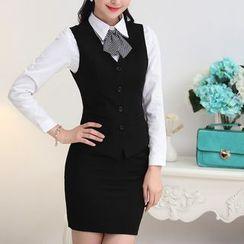 Caroe - Set: Suit Vest + Pencil Skirt