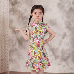 Lotus Seed - Kids Short-Sleeve Patterned Cheongsam