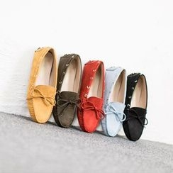 VIVIER - Faux-Suede Ribbon-Detail Loafers