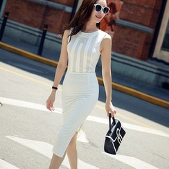 Sherbo - Sleeveless Paneled Slit-Side Sheath Dress