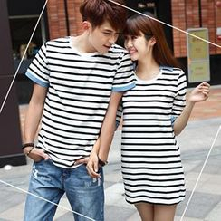 Igsoo - Couple Striped T-Shirt / T-Shirt Dress