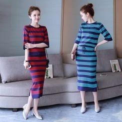 Crista - Set: Elbow-Sleeve Striped Knit Top + Slit-Side Striped Knit Skirt