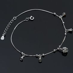 Kitty Kiss - 925 Sterling Silver Metal Anklet