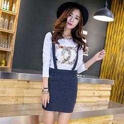 HANLIDU - Check Jumper Skirt