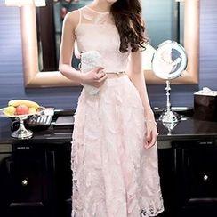 Dimanche - 套装: 羽毛短款无袖上衣 + 中长裙