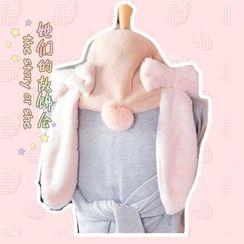AOI - 蝴蝶結垂耳兔仿兔毛圍巾