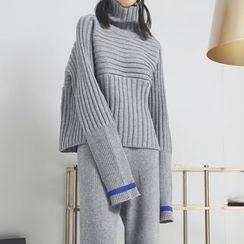 Sonne - 折边高领针织毛衣