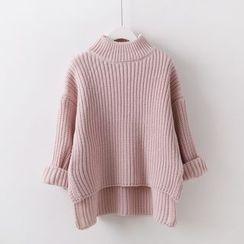 Sakunini - Mock Neck Chunky Knit Sweater