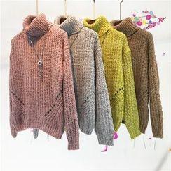 Whitney's Shop - 鏤空樽領粗織毛衣
