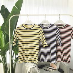 MATO - Elbow-Sleeve Striped T-Shirt