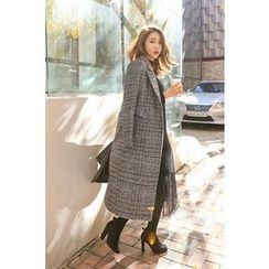 PPGIRL - Single-Breasted Checked Long Coat