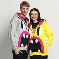 HappyTee - Printed Hooded Couple Jacket