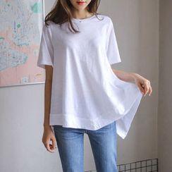 JUSTONE - Asymmetric-Hem Cotton T-Shirt