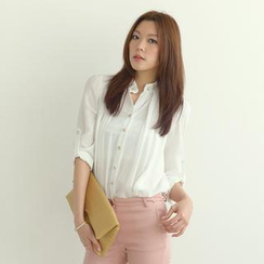 SO Central - Embellished Mandarin Collar Chiffon Blouse