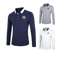 Blueforce - Printed Long-Sleeve Polo Shirt