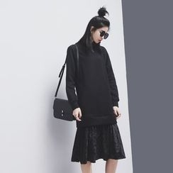 Sonne - 假两件下摆拼丝绒卫衣连衣裙