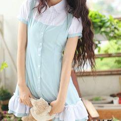 dollydelly - Frilled Short-Sleeve Chiffon Dress