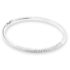MaBelle - 14K White Gold Diamond Cutting Surface Bangle (55 mm Width)