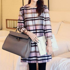 Mocha - Plaid Shift Dress