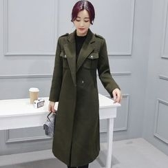 AiSun - Pocketed Notch Lapel Long Coat