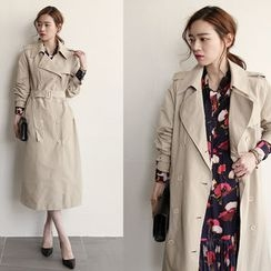 NIPONJJUYA - Double-Breasted Long Trench Coat with Belt