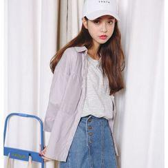 Porta - Striped Elbow Sleeve Shirt