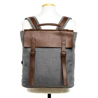 HOTBOOM - Faux-Leather Trim Backpack