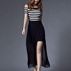 lilygirl - Stripe Cold Shoulder Chiffon Maxi Dress