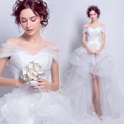 Angel Bridal - Off-Shoulder Ruffle High-Low Wedding Dress