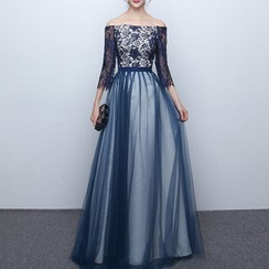 Shannair - Lace Panel Off-Shoulder Tulle Evening Gown