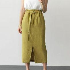 UPTOWNHOLIC - Belted-Detail Slit-Front Midi Skirt