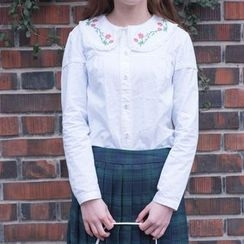 Moricode - 刺绣领衬衫