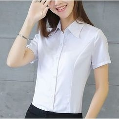 Eferu - Plain Short-Sleeve Blouse