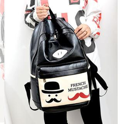 Miss Sweety - Faux-Leather Mustache-Print Backpack