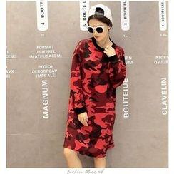 Dream Girl - Long-Sleeve Camo Pullover Dress