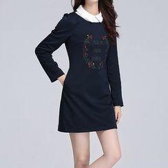 AiLiTi - Collar Detail Embroidered Shift Dress