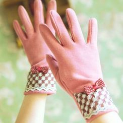 Lose Show - Paneled Bow-Accent Gloves