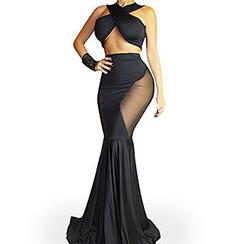 Merma - Set: Wrapped Crop Top + Panel Mermaid Maxi Skirt