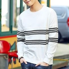 HANDA - Stripe Colour Block Sweatshirt