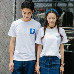 Evolu Fashion - Print Short Sleeve Couple Matching T-Shirt