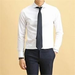 THE COVER - Wide-Collar Plain Shirt