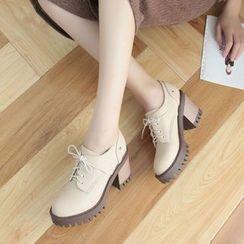 Pretty in Boots - Block Heel Oxfords