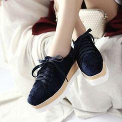 Megan - Lace-Up Platform Velvet Shoes