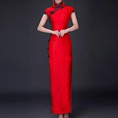 Posh Bride - Contrast Trim Cap Sleeve Maxi Qipao