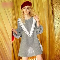 ELF SACK - Puff-Sleeve Paneled Check A-Line Dress