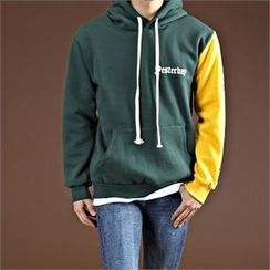THE COVER - Hooded Color-Block Lettering Sweatshirt