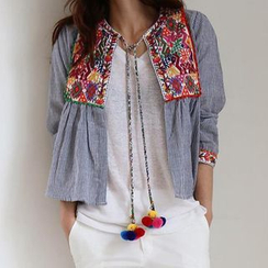 trendedge - Embroidered Striped Pompom Tie Front Jacket