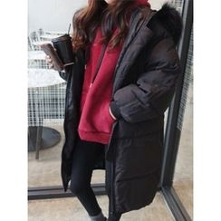 hellopeco - Fur-Fur Hooded Padded Coat